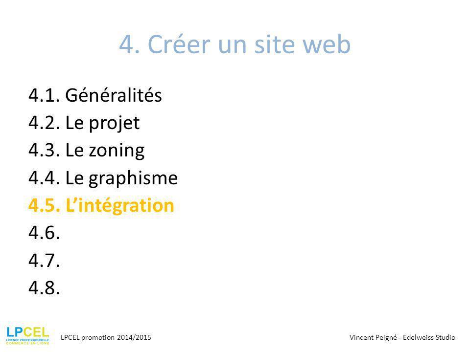 4. Créer un site web 4.1. Généralités 4.2. Le projet 4.3. Le zoning 4.4. Le graphisme 4.5. L'intégration 4.6. 4.7. 4.8.