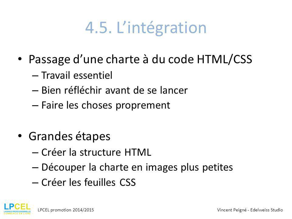 4.5. L'intégration Passage d'une charte à du code HTML/CSS