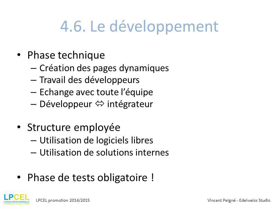 4.6. Le développement Phase technique Structure employée