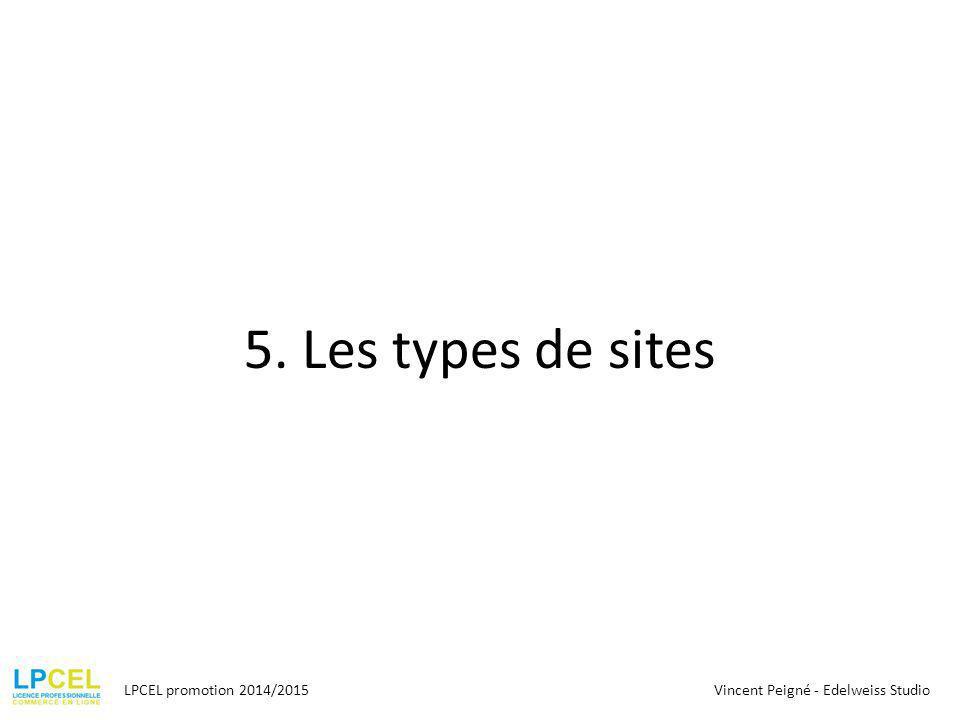 5. Les types de sites LPCEL promotion 2014/2015