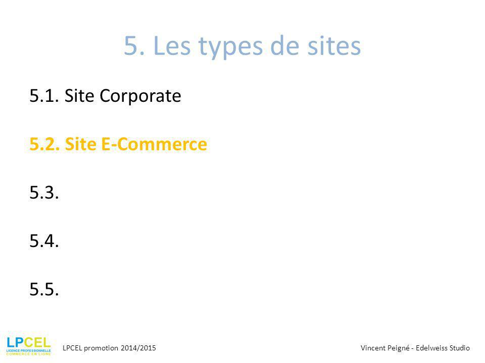 5. Les types de sites 5.1. Site Corporate 5.2. Site E-Commerce 5.3. 5.4. 5.5. LPCEL promotion 2014/2015.