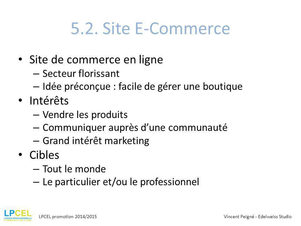 5.2. Site E-Commerce Site de commerce en ligne Intérêts Cibles