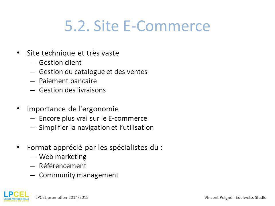 5.2. Site E-Commerce Site technique et très vaste