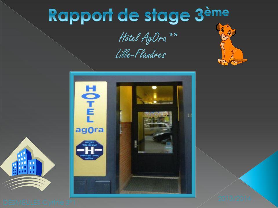 Rapport de stage 3ème Hôtel AgOra** Lille-Flandres 2013/2014