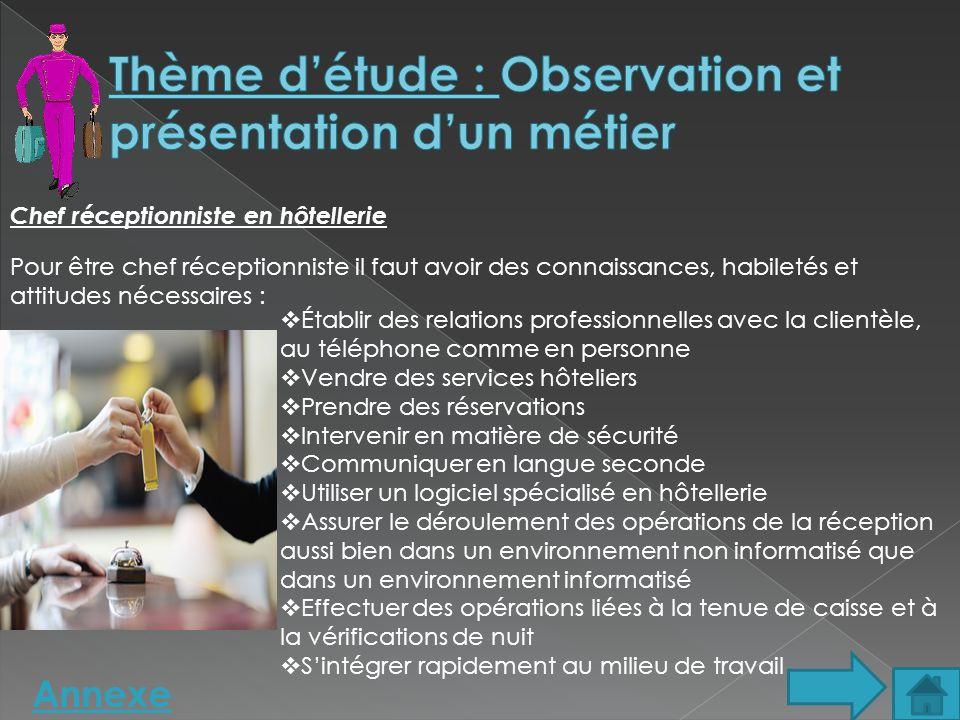 Thème d'étude : Observation et présentation d'un métier