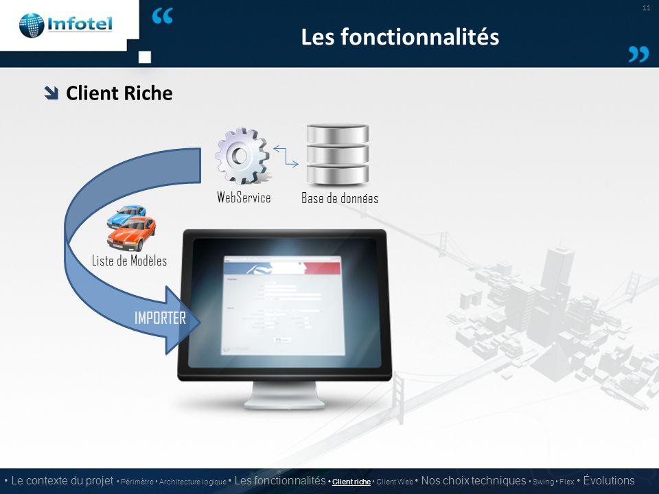 Les fonctionnalités Client Riche IMPORTER WebService Base de données