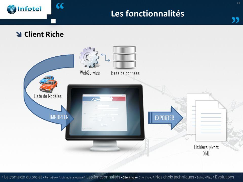 Les fonctionnalités Client Riche IMPORTER EXPORTER WebService
