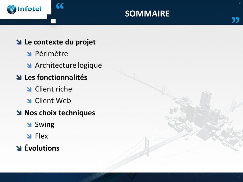 SOMMAIRE Le contexte du projet Périmètre Architecture logique