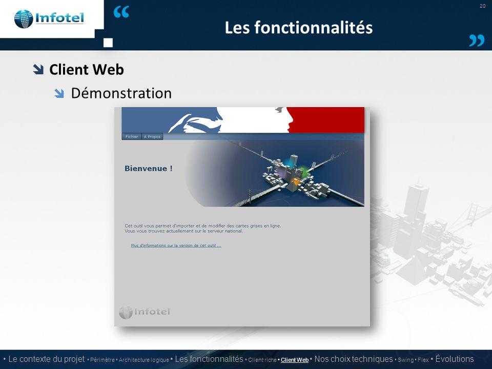 Les fonctionnalités Client Web Démonstration