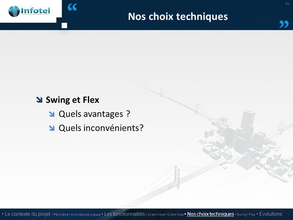Nos choix techniques Swing et Flex Quels avantages