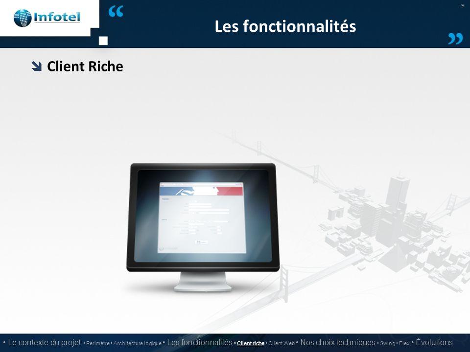 Les fonctionnalités Client Riche
