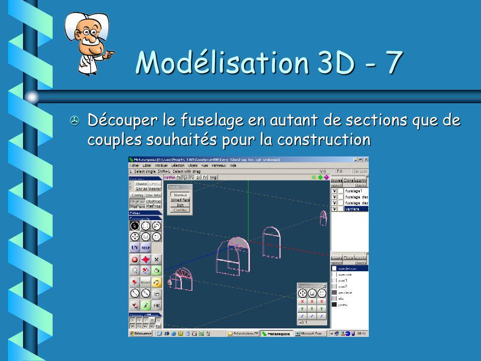 Modélisation 3D - 7 Découper le fuselage en autant de sections que de couples souhaités pour la construction.