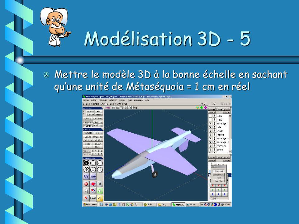 Modélisation 3D - 5 Mettre le modèle 3D à la bonne échelle en sachant qu'une unité de Métaséquoia = 1 cm en réel.
