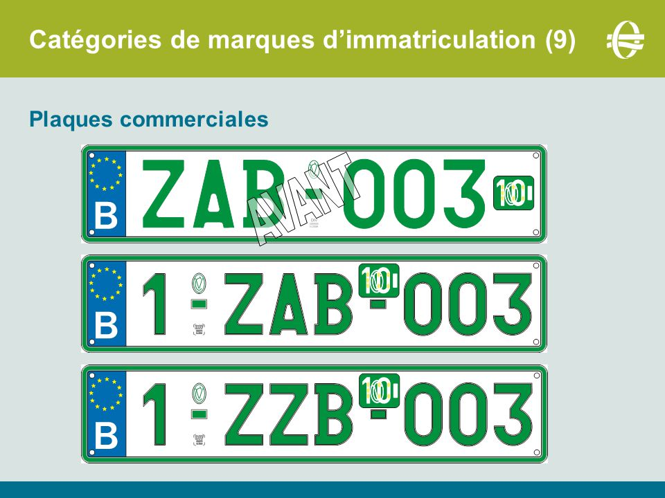 Catégories de marques d'immatriculation (9)