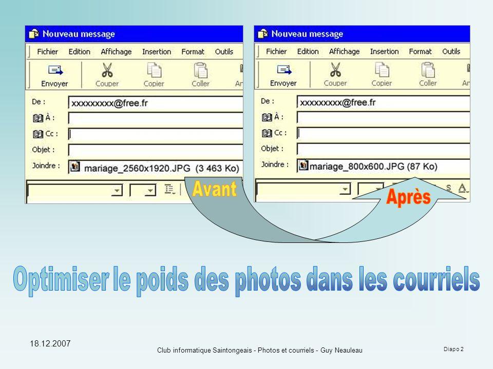 Optimiser le poids des photos dans les courriels