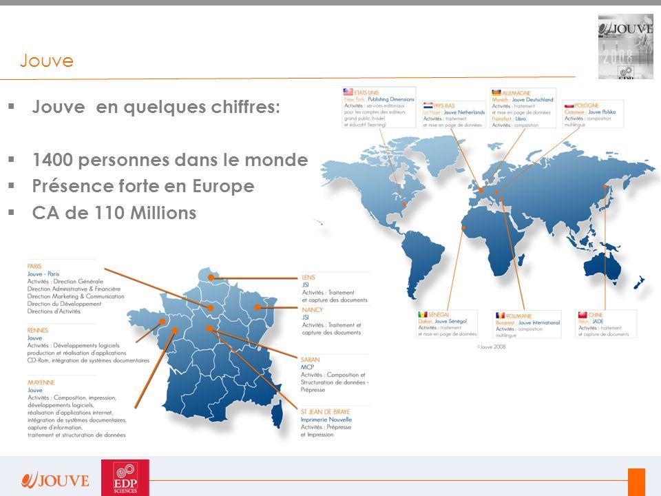 Jouve Jouve en quelques chiffres: 1400 personnes dans le monde.