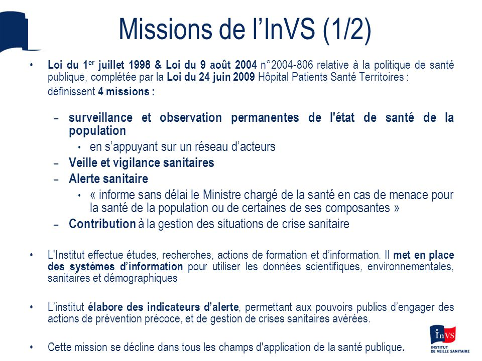 Missions de l'InVS (1/2)