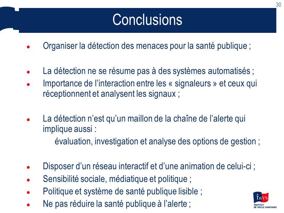 30 Conclusions. Organiser la détection des menaces pour la santé publique ; La détection ne se résume pas à des systèmes automatisés ;