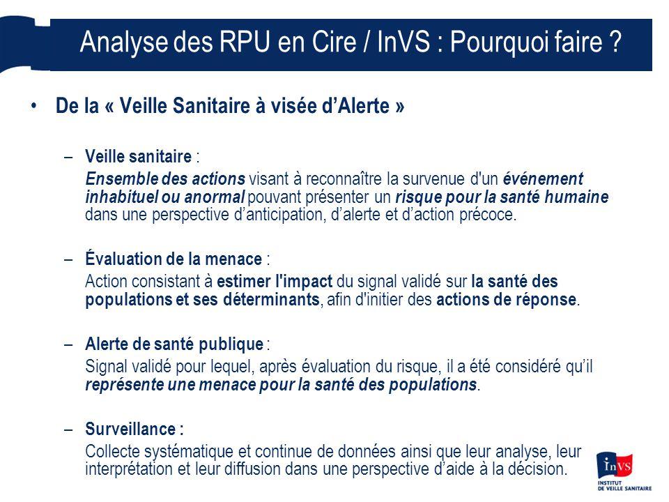 Analyse des RPU en Cire / InVS : Pourquoi faire