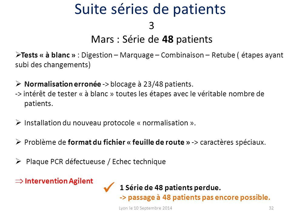 Suite séries de patients
