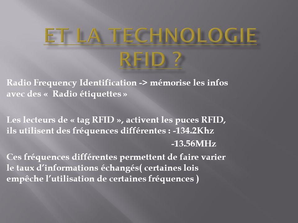 Et la technologie RFID Radio Frequency Identification -> mémorise les infos avec des « Radio étiquettes »