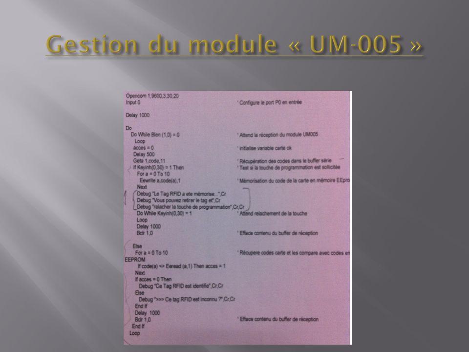 Gestion du module « UM-005 »