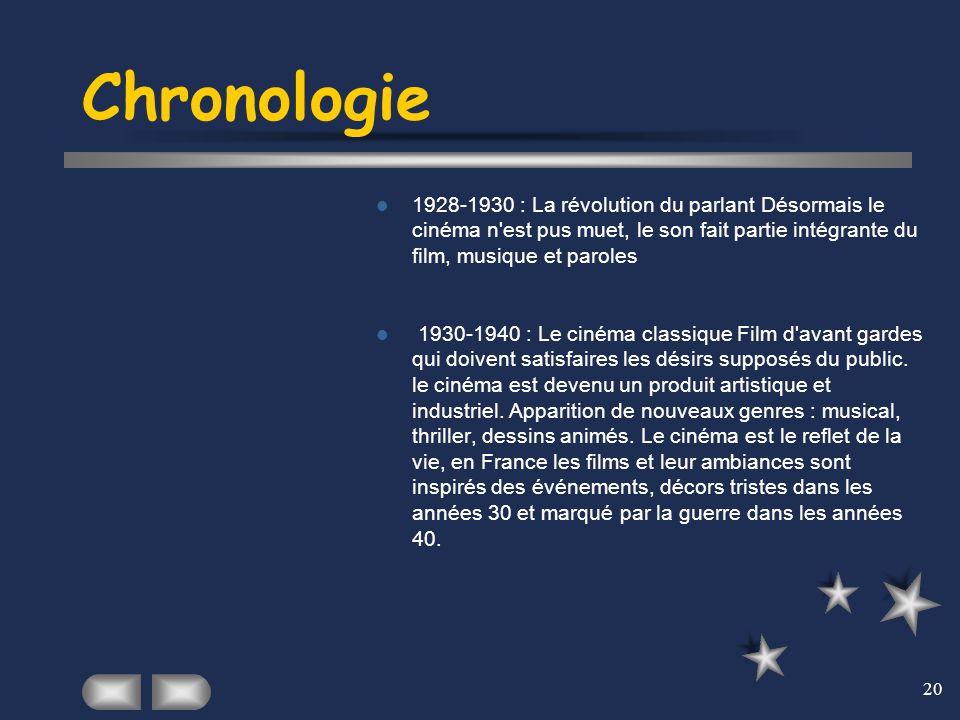 Chronologie 1928-1930 : La révolution du parlant Désormais le cinéma n est pus muet, le son fait partie intégrante du film, musique et paroles.