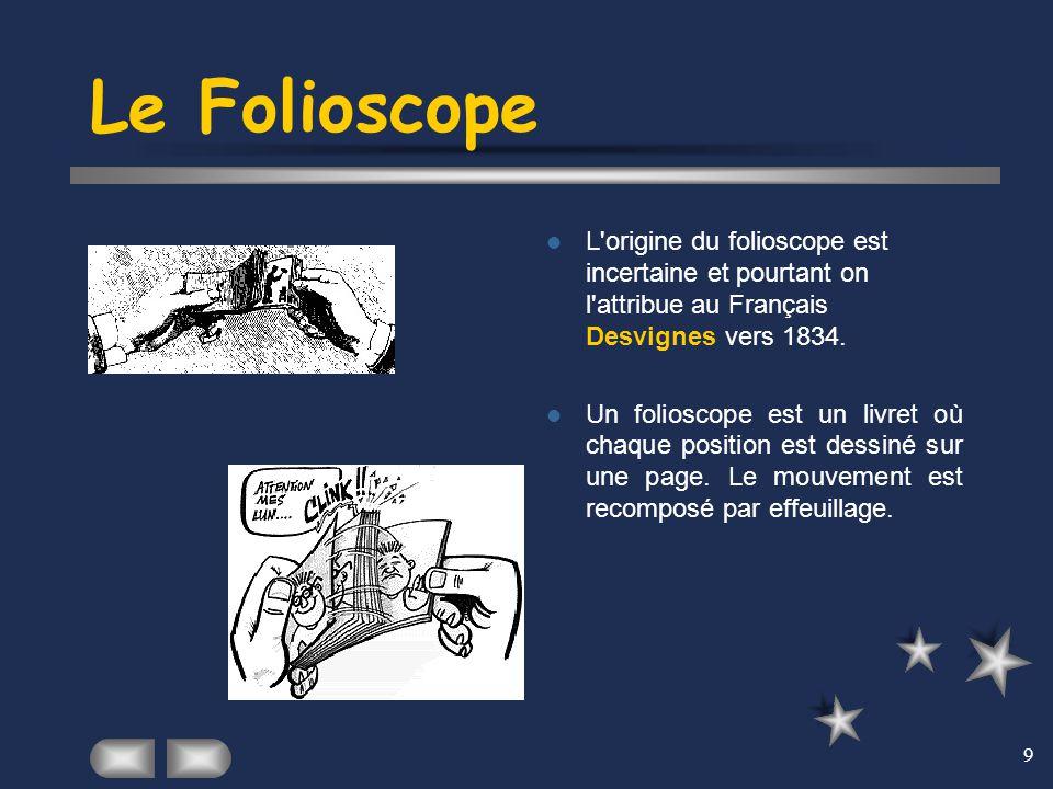 Le Folioscope L origine du folioscope est incertaine et pourtant on l attribue au Français Desvignes vers 1834.