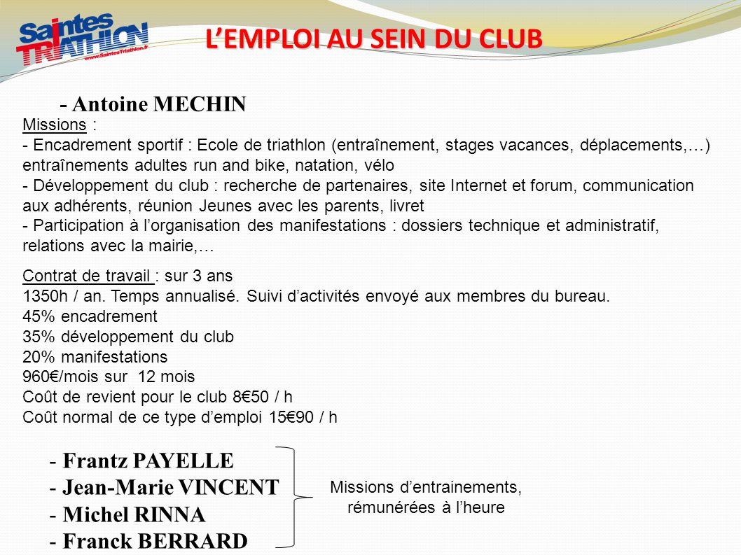 L'EMPLOI AU SEIN DU CLUB