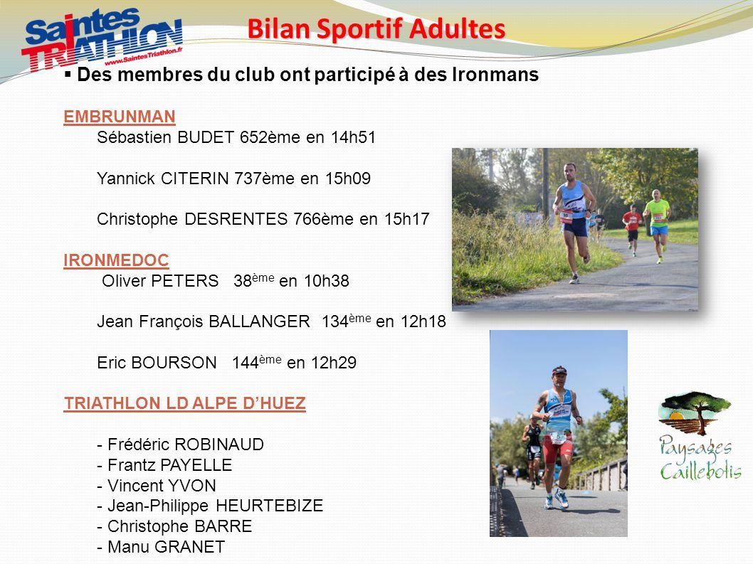 Bilan Sportif Adultes Des membres du club ont participé à des Ironmans