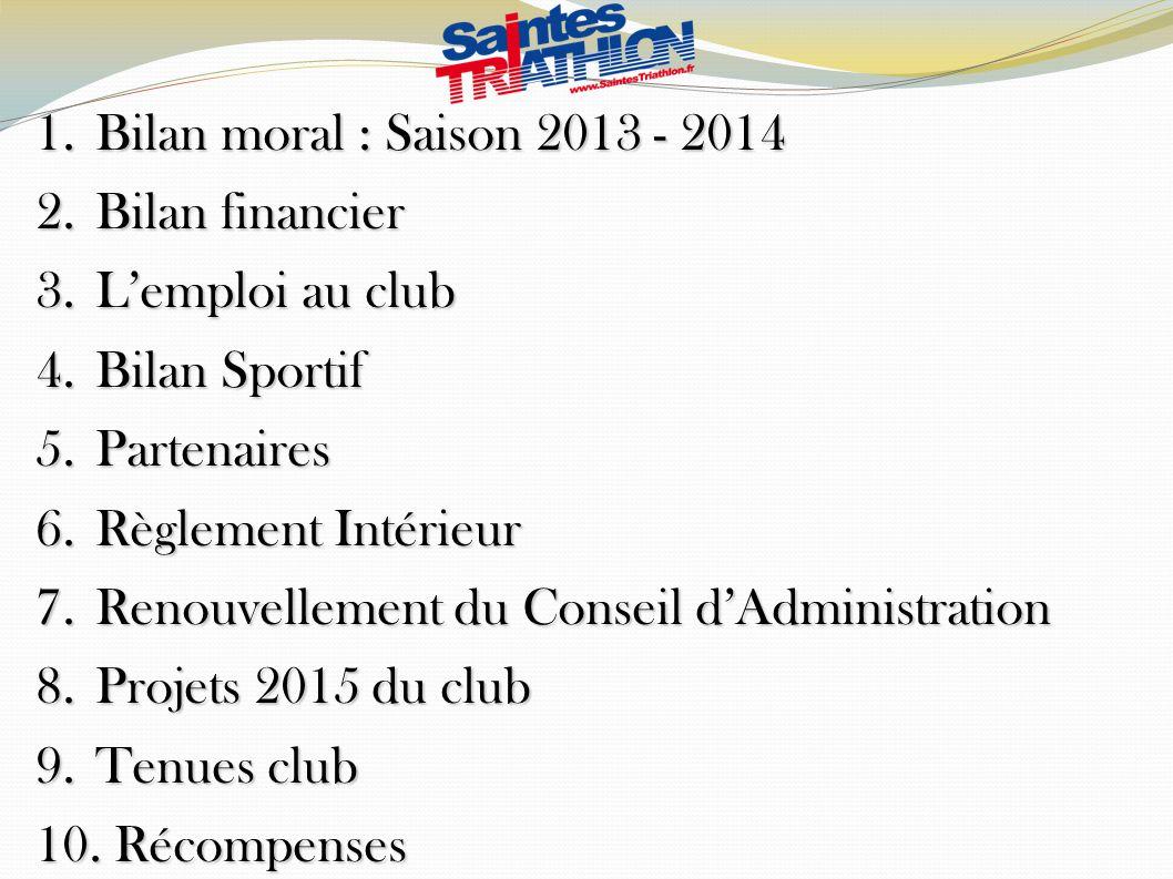Bilan moral : Saison 2013 - 2014 Bilan financier. L'emploi au club. Bilan Sportif. Partenaires. Règlement Intérieur.