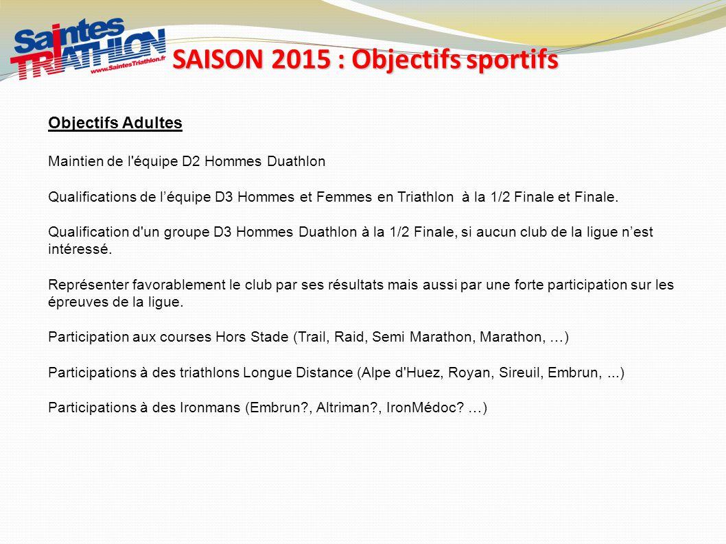 SAISON 2015 : Objectifs sportifs