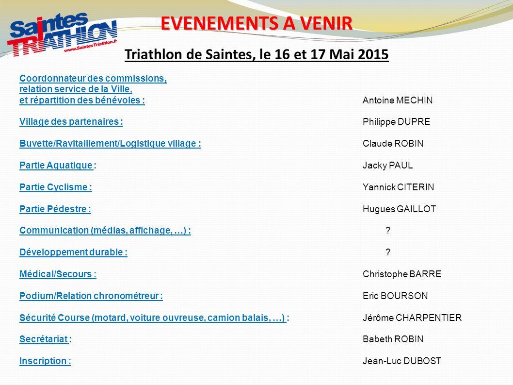 Triathlon de Saintes, le 16 et 17 Mai 2015