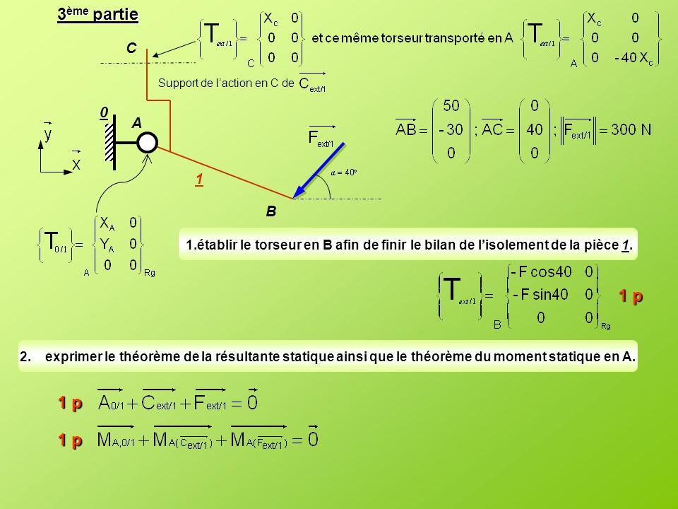 3ème partie C. Support de l'action en C de. A. 1. B. établir le torseur en B afin de finir le bilan de l'isolement de la pièce 1.