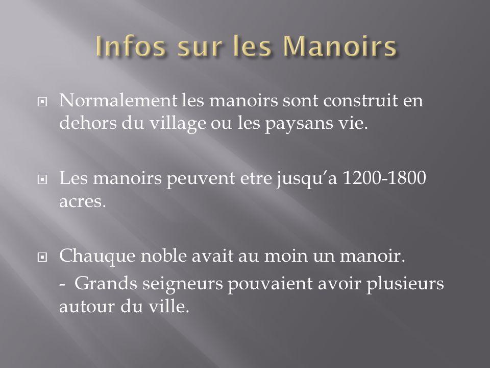 Infos sur les Manoirs Normalement les manoirs sont construit en dehors du village ou les paysans vie.