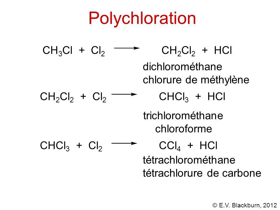 Polychloration CH3Cl + Cl2 CH2Cl2 + HCl dichlorométhane