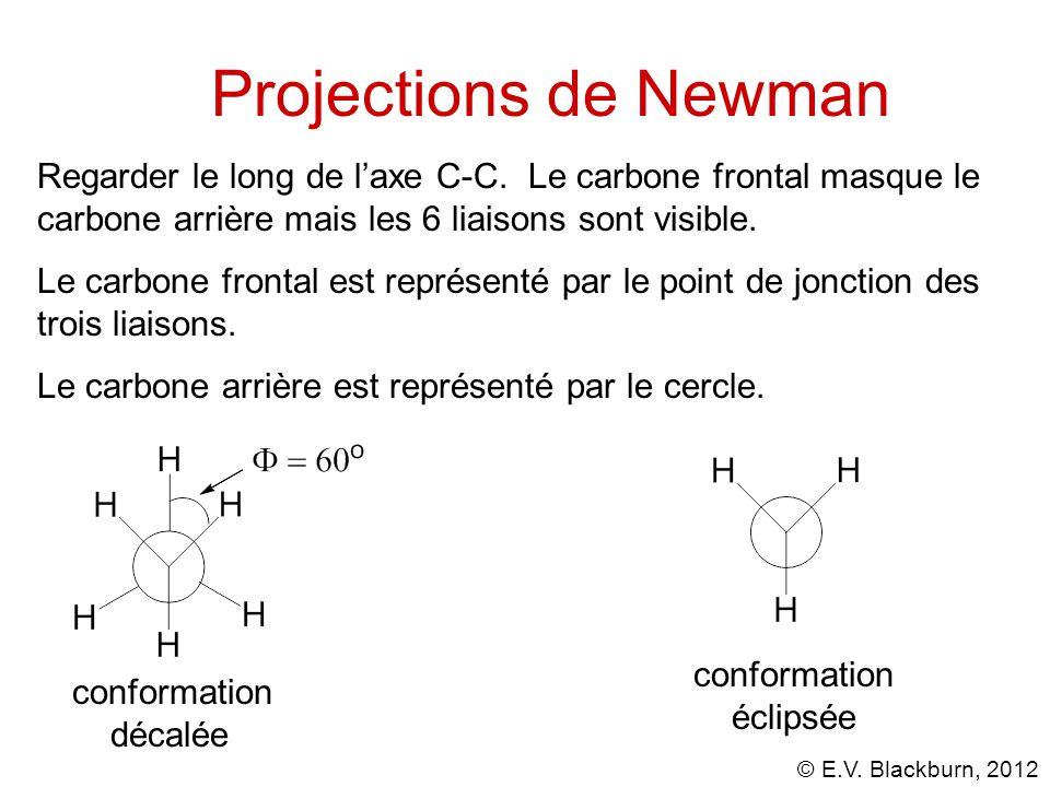 Projections de Newman Regarder le long de l'axe C-C. Le carbone frontal masque le carbone arrière mais les 6 liaisons sont visible.