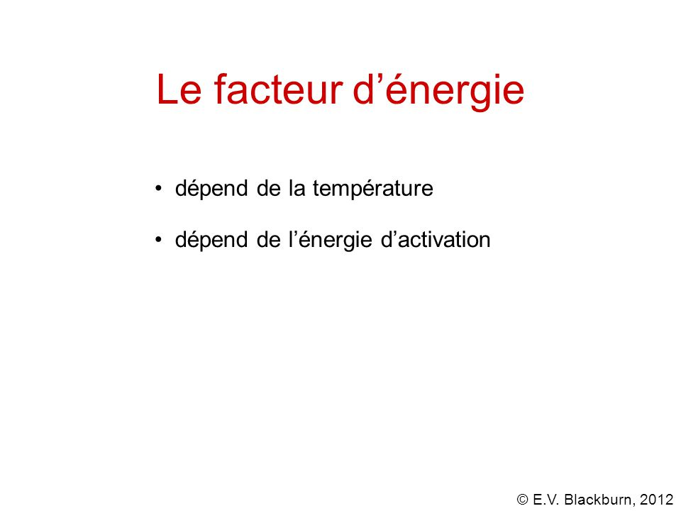 Le facteur d'énergie dépend de la température