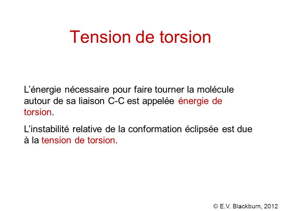 Tension de torsion L'énergie nécessaire pour faire tourner la molécule autour de sa liaison C-C est appelée énergie de torsion.