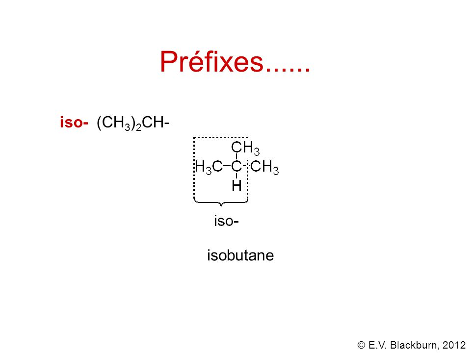 Préfixes...... iso- (CH3)2CH- isobutane