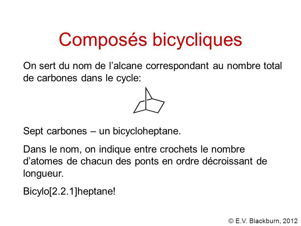 Composés bicycliques On sert du nom de l'alcane correspondant au nombre total de carbones dans le cycle: