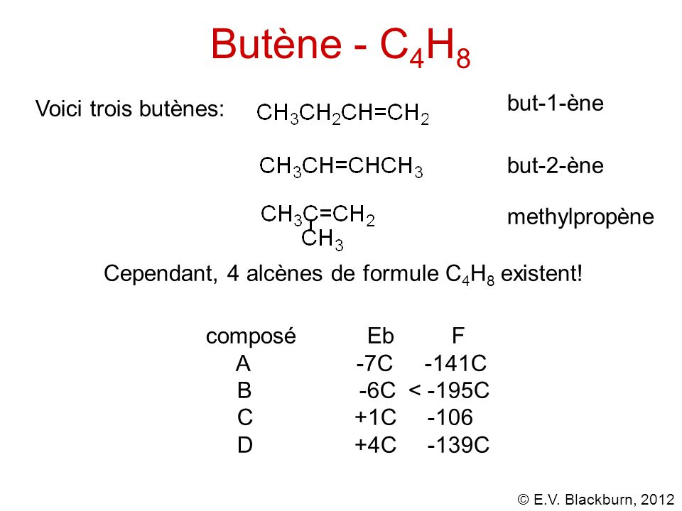 Butène - C4H8 but-1-ène Voici trois butènes: but-2-ène methylpropène