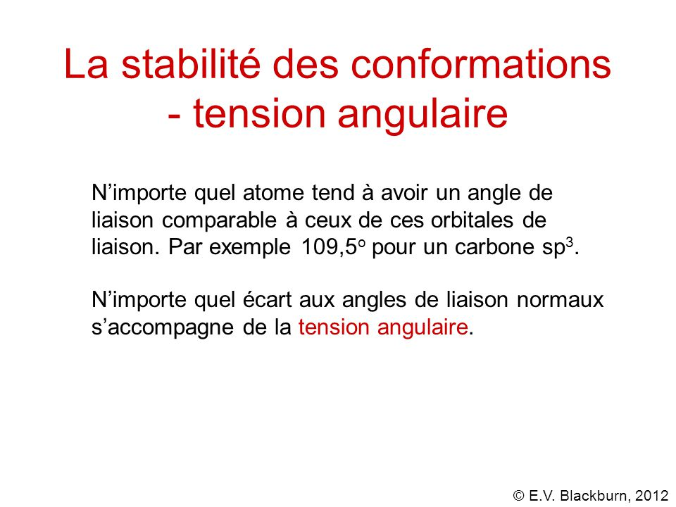 La stabilité des conformations - tension angulaire