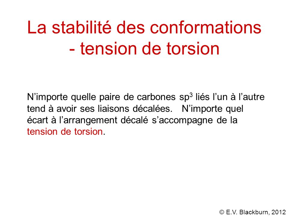 La stabilité des conformations - tension de torsion