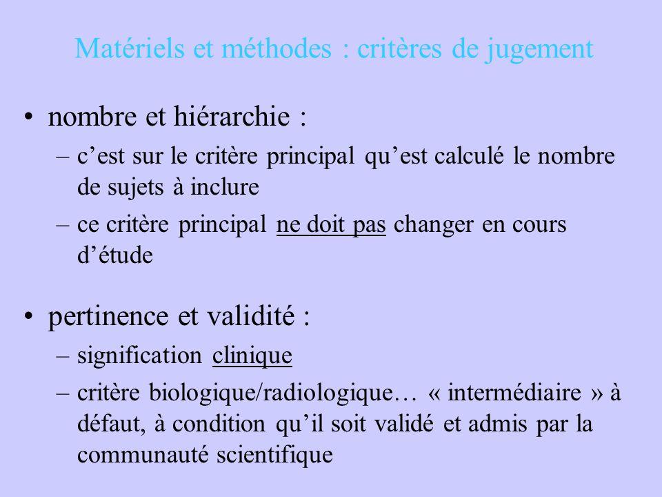 Matériels et méthodes : critères de jugement