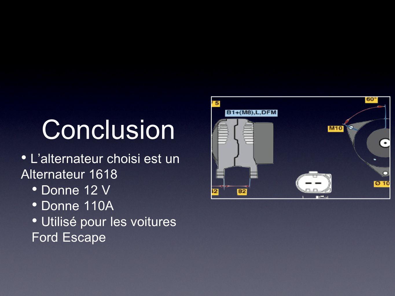 Conclusion L'alternateur choisi est un Alternateur 1618 Donne 12 V