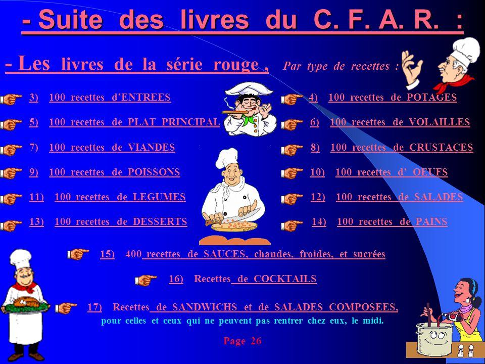 - Suite des livres du C. F. A. R. :