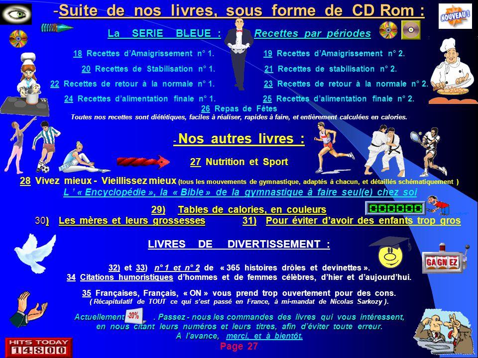 Suite de nos livres, sous forme de CD Rom : La SERIE BLEUE : Recettes par périodes 18 Recettes d'Amaigrissement n° 1.