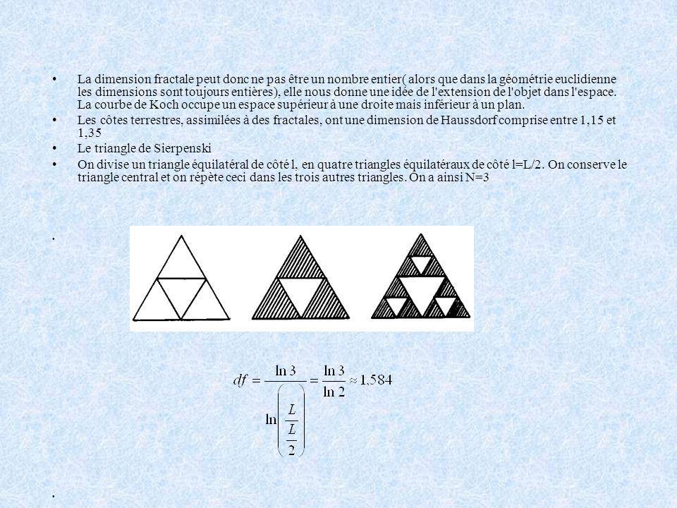 La dimension fractale peut donc ne pas être un nombre entier( alors que dans la géométrie euclidienne les dimensions sont toujours entières), elle nous donne une idée de l extension de l objet dans l espace. La courbe de Koch occupe un espace supérieur à une droite mais inférieur à un plan.