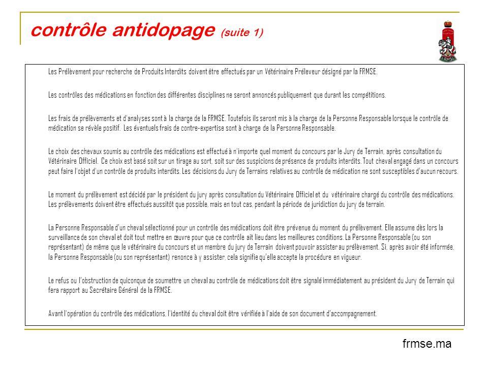 contrôle antidopage (suite 1)